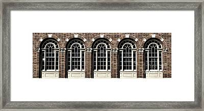 Framed Print featuring the photograph Brick Arch Windows by Brad Allen Fine Art