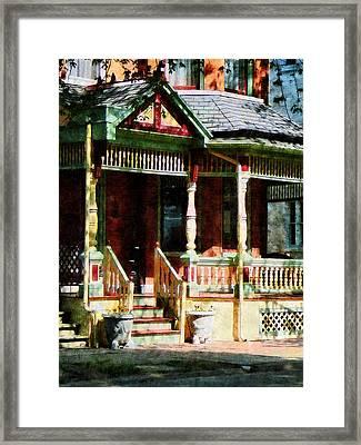 Brick House With Green Trim Framed Print