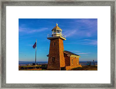Brick Lighthouse At Point Pinos Framed Print by Garry Gay