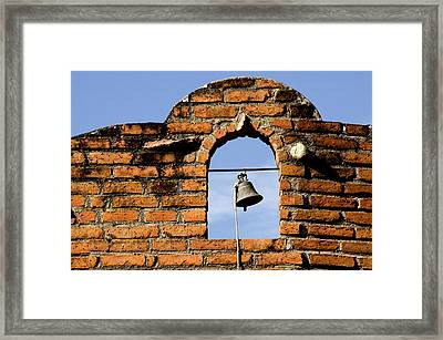 Brick Wall And Bell Framed Print by Xavier Cardell