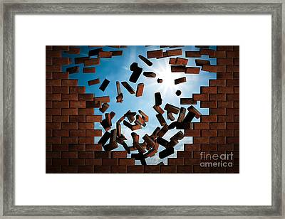 Brick Wall Falling Down Making A Hole To Sunny Sky Outside Framed Print