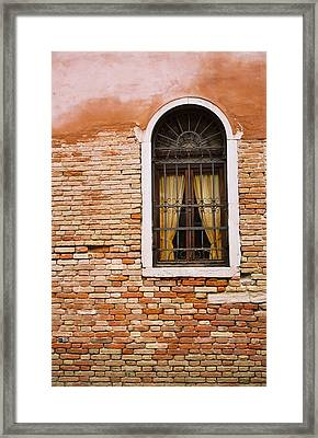 Brick Window Framed Print by Kathy Schumann