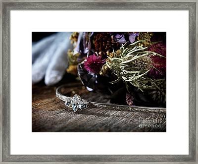 Bridal Tiara Headpiece And A Wedding Bouquet  Framed Print