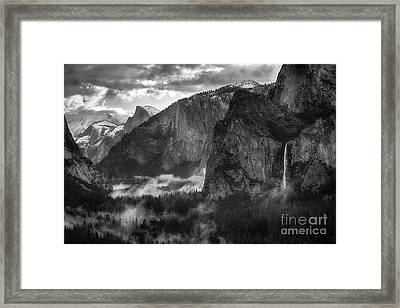 Bridalvail Falls And Half Dome Framed Print