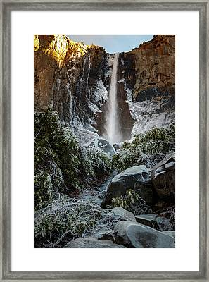 Bridalveil Fall Frozen Landing Yosemite California Framed Print