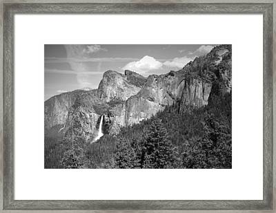 Bridalveil Falls From Tunnel View B And W Framed Print