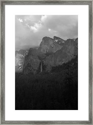 Bridalveil In Black And White Framed Print by Richard Verkuyl