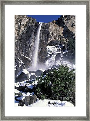 Framed Print featuring the photograph Bridalveil In Winter by Stan and Anne Foster