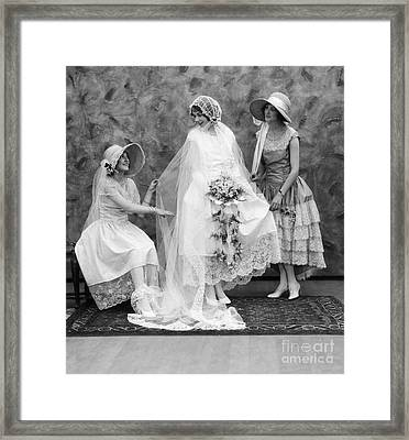 Bride And Bridesmaids, C.1900-10s Framed Print