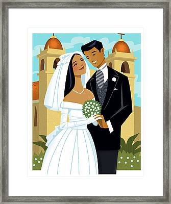 Bride And Groom Framed Print by Harry Briggs