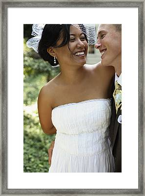 Bride And Groom Outside At Wedding Framed Print
