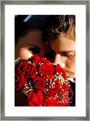 Bride And Groom Sharing Special Touching Moment Framed Print
