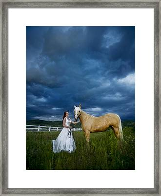 Bride And Horse With Storm Framed Print by Nick Sokoloff