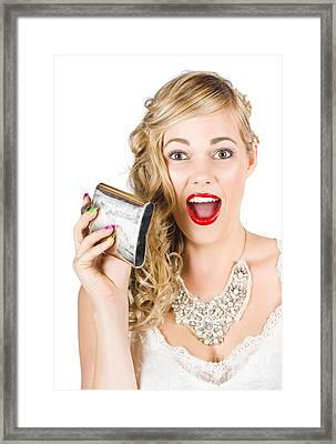 Bride Holding Alcohol Flask During Hens Night Out Framed Print by Jorgo Photography - Wall Art Gallery