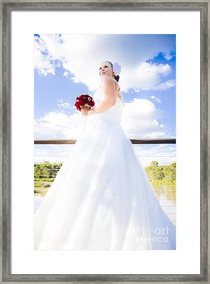 Bride In White Wedding Dress Framed Print