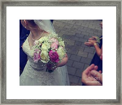 Bride With Wedding Bouquet Framed Print by Patricia Hofmeester