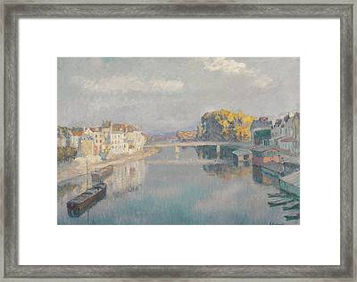 Bridge And Boat On The Marne Wash Houses Framed Print by Henri Lebasque
