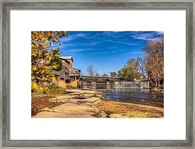 Bridge And Creek In The Fall Framed Print by Douglas Barnett