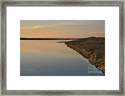 Bridge And Ria At Sunset In Quinta Do Lago Framed Print
