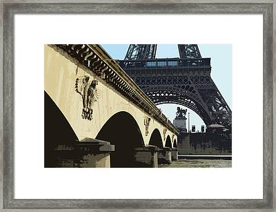 Bridge Arches And Imperial Eagles On Pont D'lena Below Eiffel Tower Paris France Cutout Digital Art Framed Print by Shawn O'Brien