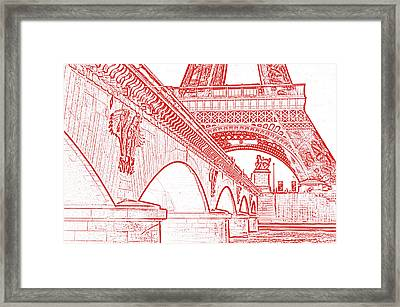Bridge Arches And Imperial Eagles On Pont D'lena Below Eiffel Tower Paris France Stamp Digital Art Framed Print by Shawn O'Brien