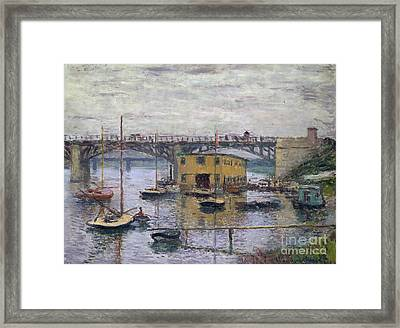 Bridge At Argenteuil On A Gray Day, 1876 Framed Print