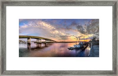 Bridge At Darien Framed Print by Debra and Dave Vanderlaan