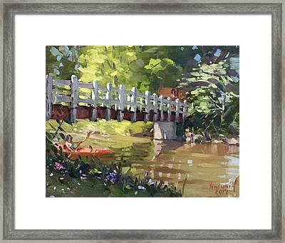 Bridge At Ellicott Creek Park Framed Print by Ylli Haruni