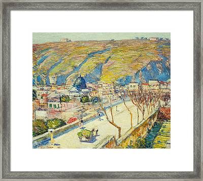 Bridge At Posilippo At Naples Framed Print by Childe Hassam