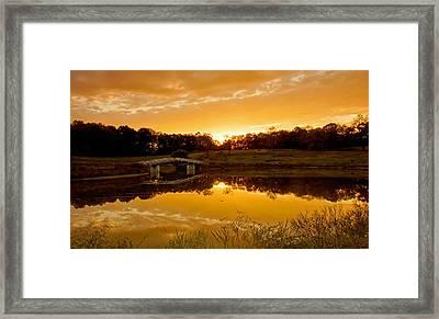 Bridge At Sundown Framed Print by Keith Bridgman