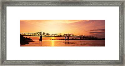 Bridge At Sunset, Natchez, Mississippi Framed Print by Panoramic Images