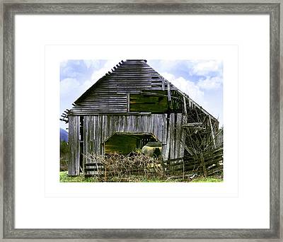 Bridge Creek Barn Framed Print by Susan Leggett