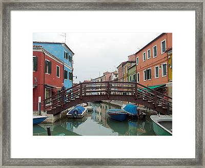 Bridge In Burano Italy Framed Print by Mindy Newman