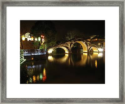 Bridge In Chinese Water Town Framed Print by Andrew Soundarajan