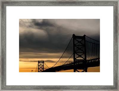 Bridge In Oil Framed Print by Thomas  MacPherson Jr