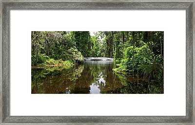 Framed Print featuring the photograph Bridge In The Garden by Sandy Keeton