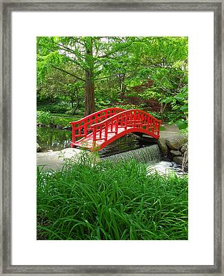 Framed Print featuring the photograph Bridge In The Woods by Rodney Campbell