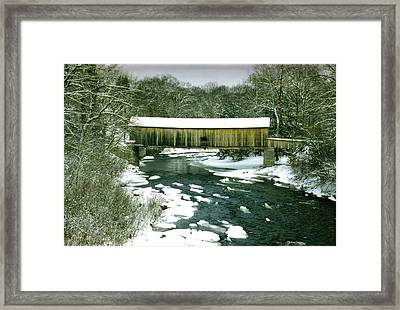 Bridge In Winter Framed Print