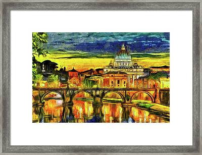 Bridge Of Angels Evening Framed Print by Leonardo Digenio