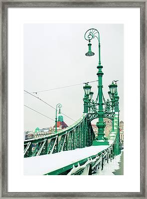 Bridge Of Liberty In Budapest Framed Print