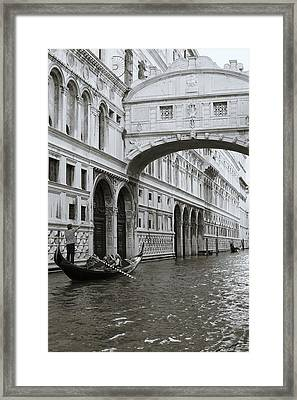 Bridge Of Sighs And Gondola, Venice, Italy Framed Print by Richard Goodrich