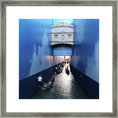 Bridge Of Sighs Wrapped In Blue Framed Print