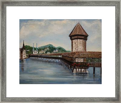 Bridge On Lake Lucerne Framed Print by Irene McDunn