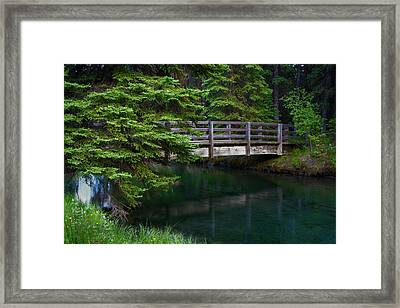 Framed Print featuring the photograph Bridge Over Glacial Waters In Banff National Park by Dave Dilli
