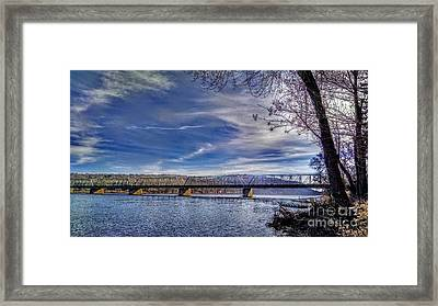 Bridge Over The Delaware River In Winter Framed Print
