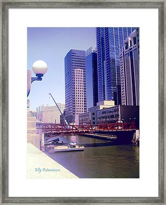 Framed Print featuring the pyrography Bridge Overview by Elly Potamianos