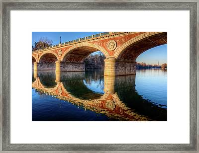 Bridge Reflection On River Framed Print