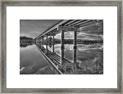 Bridge Reflections Black And White Bridge Art Framed Print by Reid Callaway