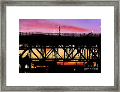 Bridge Sunset Silhouette By Kaye Menner Framed Print