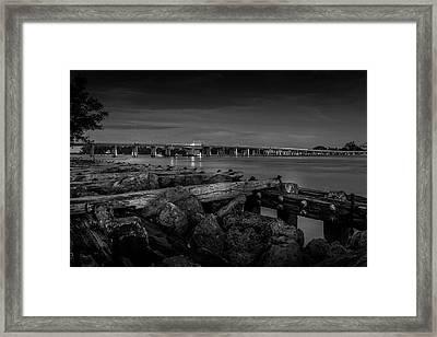 Bridge To Longboat Key In Bw Framed Print